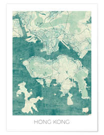 Poster  Hong Kong Map Blue - Hubert Roguski