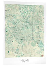 Acrylic print  Milan Map Blue - Hubert Roguski