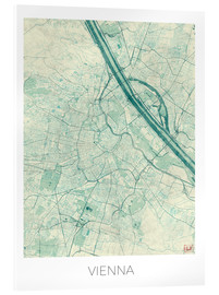 Acrylic print  Map of Vienna, blue - Hubert Roguski