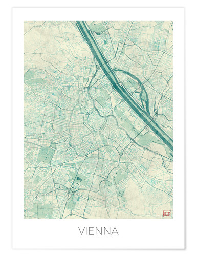 Premium poster Map of Vienna, blue