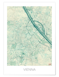 Premium poster  Map of Vienna, blue - Hubert Roguski