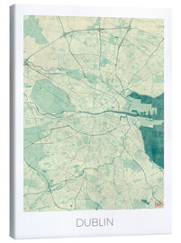 Canvas print  Dublin Map Blue - Hubert Roguski