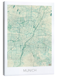 Canvas print  Map of Munich (blue) - Hubert Roguski