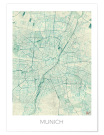 Premium poster Map of Munich (blue)
