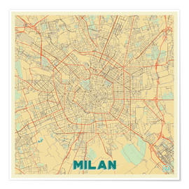 Premium poster Milan Map Retro