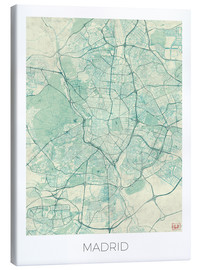 Canvas print  Map of Madrid, blue - Hubert Roguski