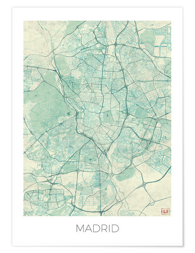Premium poster Map of Madrid, blue