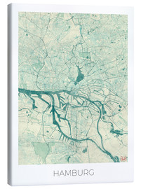 Canvas  Hamburg, Germany Map Blue - Hubert Roguski