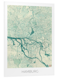 Foam board print  Hamburg, Germany map blue - Hubert Roguski