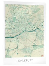 Acrylic print  Frankfurt, Germany Map Blue - Hubert Roguski