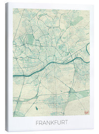 Canvas print  Frankfurt, Germany Map Blue - Hubert Roguski
