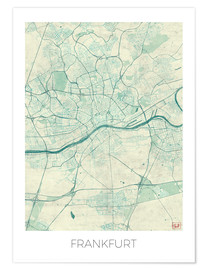 Premium poster  Frankfurt, Germany Map Blue - Hubert Roguski