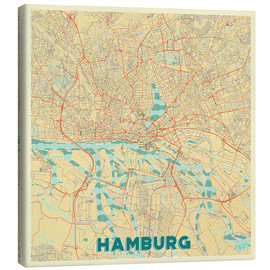 Canvas  Hamburg, Germany Map Retro - Hubert Roguski