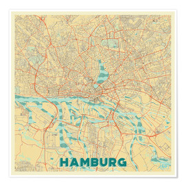Premium poster Hamburg, Germany Map Retro