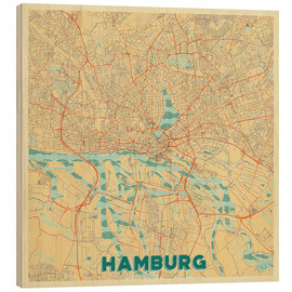 Wood print  Hamburg, Germany Map Retro - Hubert Roguski