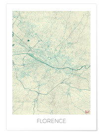 Premium poster Florence, Italy Map Blue