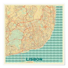 Premium poster  Lisbon, Portugal Map Retro - Hubert Roguski