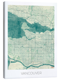 Canvas  Vancouver, Canada Map Blue - Hubert Roguski