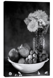 Canvas print  Still life with apples and grapes noir - K&L Food Style