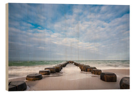 Wood print  Groyne on shore of the Baltic Sea - Rico Ködder