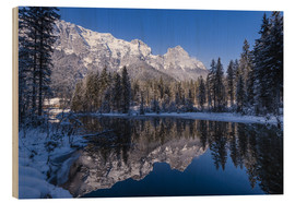 Wood print  Hintersee in front of Reiter Alm in winter - Udo Siebig