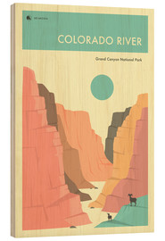Wood print  GRAND CANYON NATIONAL PARK POSTER - Jazzberry Blue