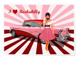 Premium poster I love Rockabilly
