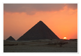 Amazing Pyramid Sunset Poster Print Size A4 A3 Landscape Poster Gift #8472