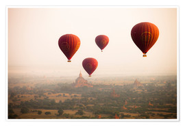 Premium poster  Aerial view of balloons over the ancient temples in Myanmar - Harry Marx