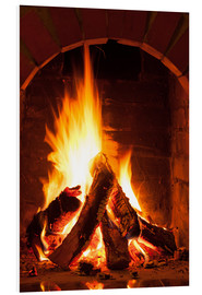 Foam board print  Wood in the fireplace