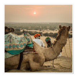 Premium poster Sunset in the Thar Desert