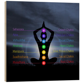 Wood print  Chakras with silhouette
