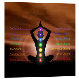 Acrylic print  Chakras in evening sky