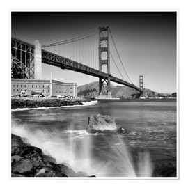 Premium poster Golden Gate Bridge with breakers