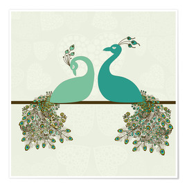 Premium poster two peacocks