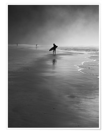Premium poster  A lone surfer on his way into the sea. - Alex Saberi