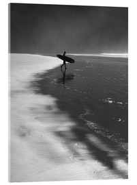 Acrylic print  A lone surfer on his way into the sea. - Alex Saberi
