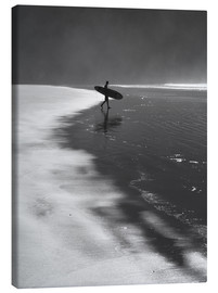 Canvas  A lone surfer on his way into the sea. - Alex Saberi