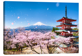 Canvas  Chureito Pagoda and Mount Fuji in spring, Fujiyoshida, Japan - Jan Christopher Becke