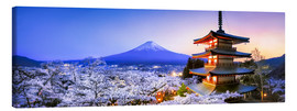 Canvas print  Chureito pagoda with Mount Fuji in spring, Fujiyoshida, Japan - Jan Christopher Becke