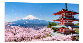 Foam board print  Chureito pagoda with Mount Fuji in Fujiyoshida, Japan - Jan Christopher Becke