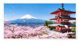 Premium poster  Chureito pagoda with Mount Fuji in Fujiyoshida, Japan - Jan Christopher Becke