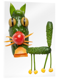Acrylic glass  Vegetable animals - cat