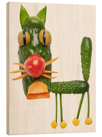 Wood print  Vegetable animals - cat