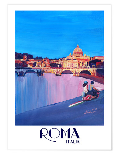 Premium poster Retro Vespa in Rome to Vatican City