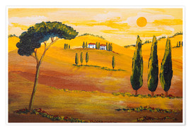 Premium poster  Sunshine in Tuscany in the Morning - Christine Huwer