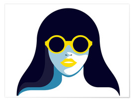 Premium poster Glam girl with rounded sunglasses