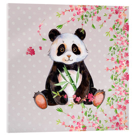 Acrylic glass  Little panda bear with bamboo and cherry blossoms - UtArt