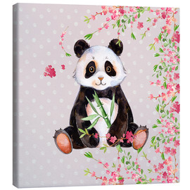 Canvas  Little panda bear with bamboo and cherry blossoms - UtArt