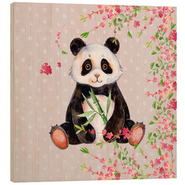 Wood print  Little panda bear with bamboo and cherry blossoms - UtArt